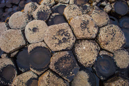 Hexagonal basalt formations at Giants Causeway in Northern Ireland