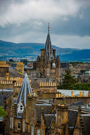 Rooftops in Edinburgh in vertical Composition Stock Photo