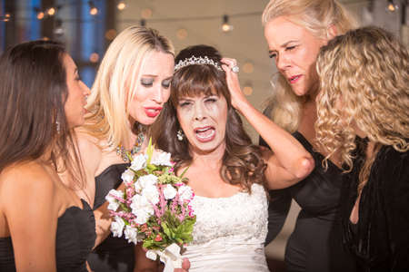 Pretty mature bride crying Standard-Bild - 122101294