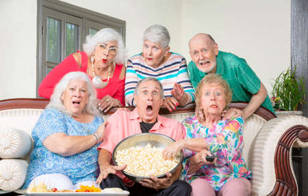Six shocked senior friends reacting to television