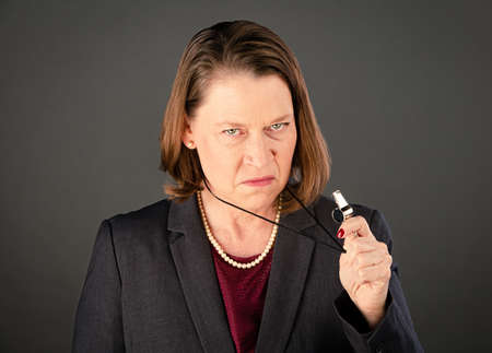 Angry female government or corporate whistleblower ready to blow