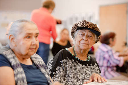 Two women together in a senior activity enter