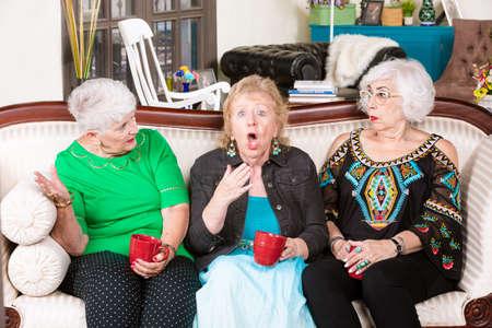 Two senior ladies react to their friend expression shock Foto de archivo