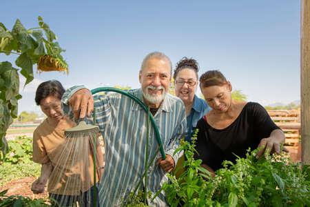 Diverse senior group working together tending a community garden Foto de archivo - 142915759