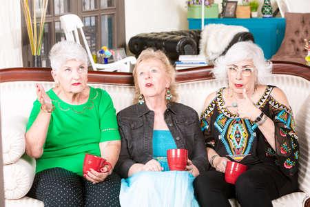 Senior women listening to a talkative friend Foto de archivo - 142915768