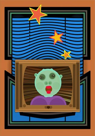 Fantastic television broadcasts, joke abstract illustration showing an alien girl broadcasting news from the screen Zdjęcie Seryjne - 138045401