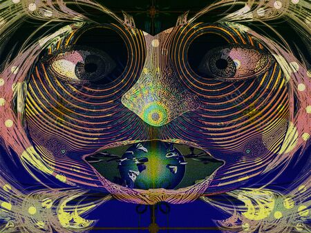 Decorative shaman mask, textured abstract picture of some people s connection to the world of souls, which are caused by certain rites Zdjęcie Seryjne