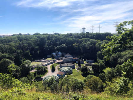 panoramic view of a sewage treatment plant