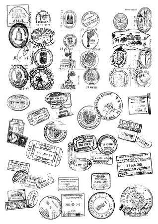 travel locations: Illustrations of samples of different kinds of stamps  Illustration