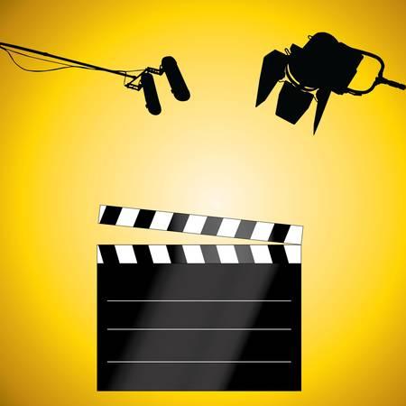 board of director: Clapboard con un microfono e luce Vettoriali