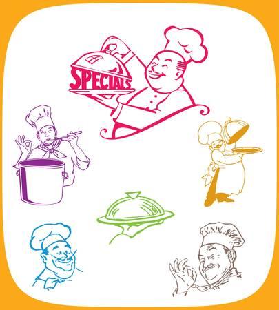 chef caricatura: Cartoon ilustraci�n de un cocinero que lleva una placa cubierta de los alimentos