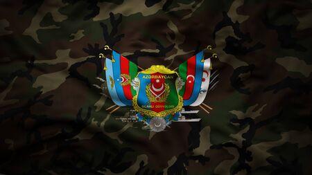 Azerbaijani Armed Forces Flag textile cloth fabric waving
