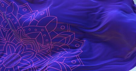 Closeup of rippled pattern silk fabric