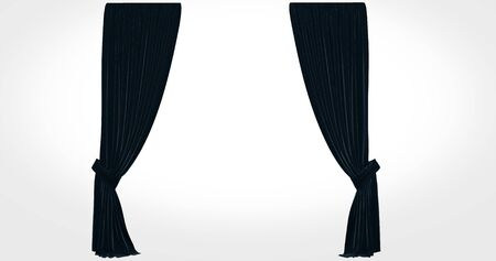 realistic stage curtains with a white backgroun Banco de Imagens