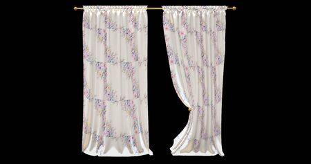 realistic stage pattern curtains with a black background 4 Banco de Imagens