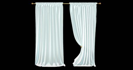 realistic stage curtains with a white background