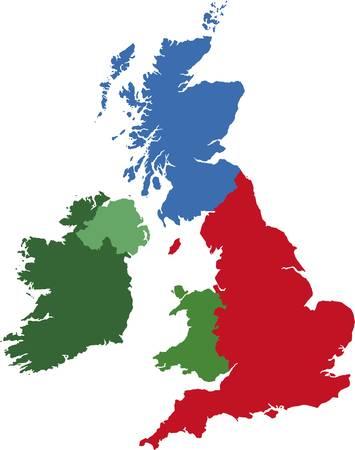 Reino Unido Mapa Regional Ilustración de vector