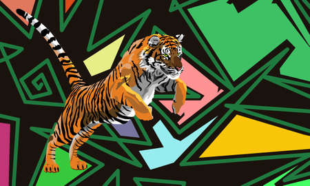 Tiger on a black background, lines and colorful shapes, vector illustration. Ilustración de vector
