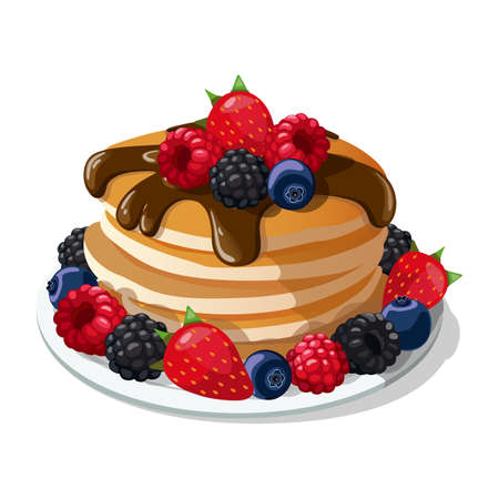 Plate with Pancakes, pancakes in chocolate with berries, vector, illustration.