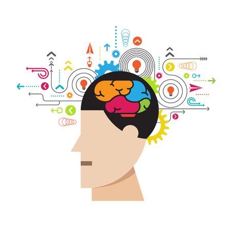 human brain process, creative idea concept vector illustration