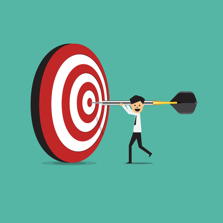 dart on target, business goal success concept, vector illustration