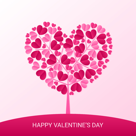 happy valentines day and heart tree paper cut, love celebration vector design