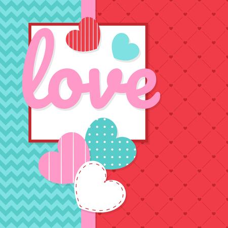 valentines card banner design, love festival colorful vector Illustration