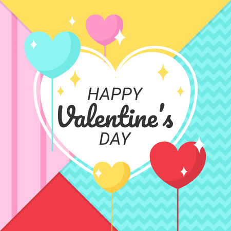 heart balloon valentines day with memphis background, love festival vector design Illustration