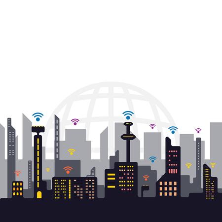internet signal city concept, network communication technology vector illustration Illustration