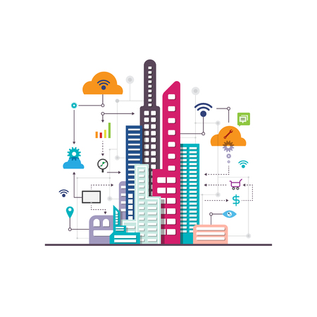 vector business social internet city, internet of things, communication concept