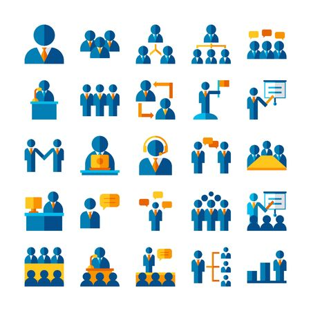 flat icon set business worker, social network teamwork strategy concept, people organization management symbol design, pixel perfect 48x48