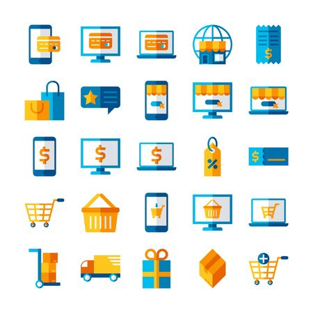 flat icon set online marketing, business ecommerce payment, purchase and shipping concept symbol design, pixel perfect 48x48