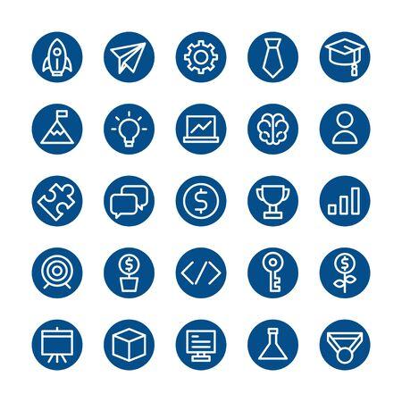 flat line icon set, business startup online marketing, education symbol design, pixel perfect 48x48 editable stroke Ilustración de vector
