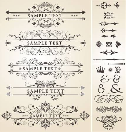 calligraphic design: calligraphic design elements Illustration