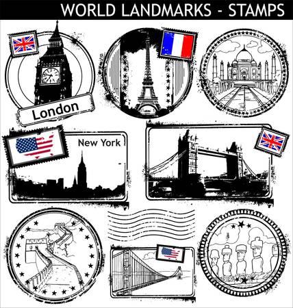 stempel reisepass: Welt-Sehensw�rdigkeiten-Briefmarken