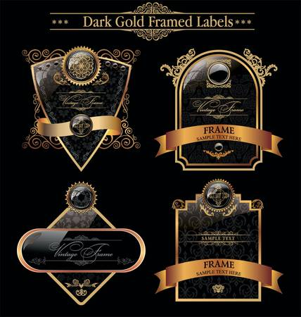 luxurious: Black Gold Framed Labels