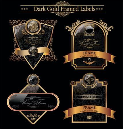 gold crown: Black Gold Framed Labels