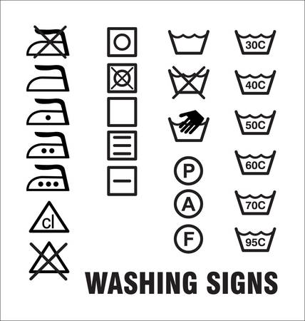 washing dishes: Washing Signs Illustration