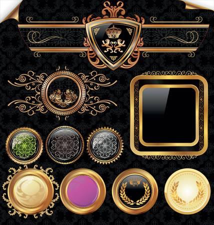 Golden Vintage Labels Set  Stock Vector - 9746788