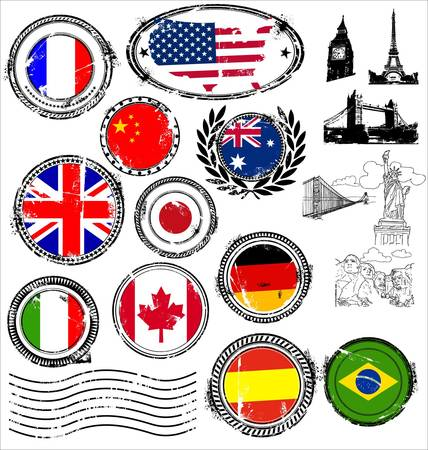 kingdom of spain: Grunge Landmarks Stamps