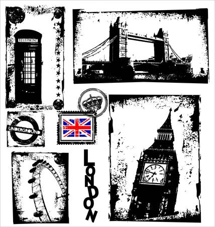 London Landmarks in Grunge Frame Vector