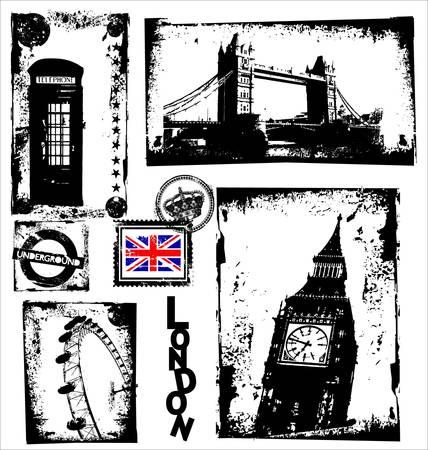 postmark: Londoner Wahrzeichen in Grunge Frame Illustration