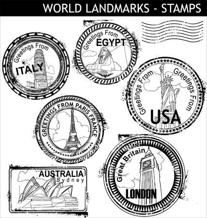 passport stamp: World Landmarks Stamps  Illustration