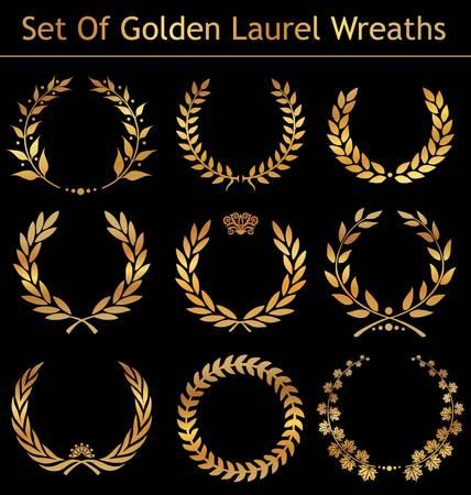 laurel leaf: Conjunto de coronas de Laurel de oro