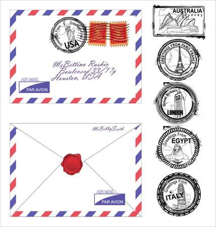 enveloppe ancienne: Enveloppe de courrier a�rien