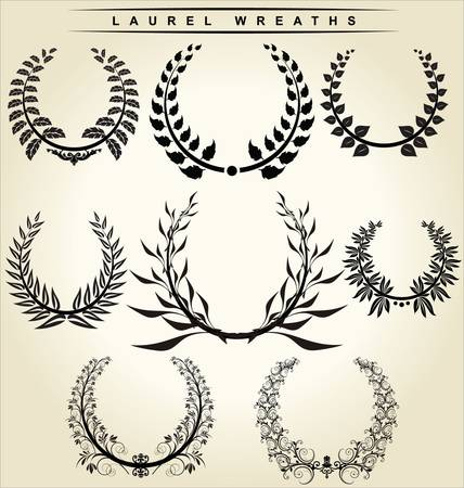 laurel leaf: laurel wreaths set Illustration