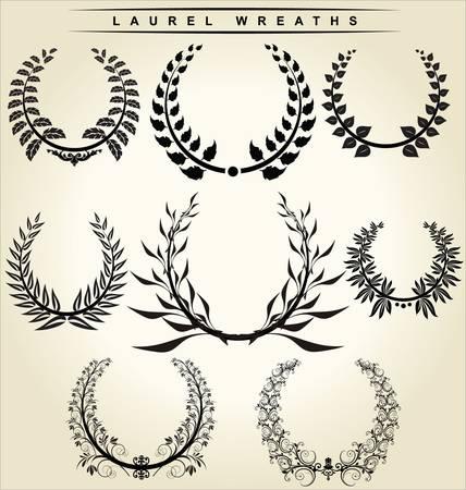decorations wreaths: laurel wreaths set Illustration