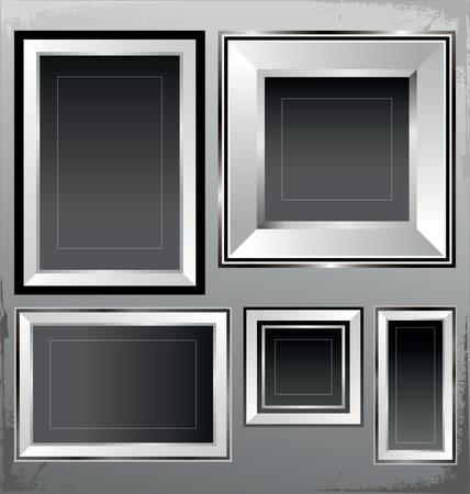 Empty silver frames Stock Vector - 9746800