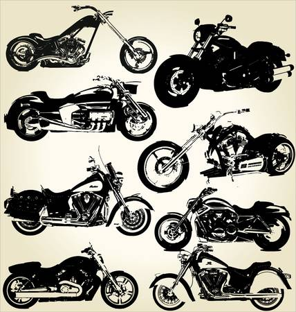 cruiser bike: Cruiser Motorcycles sihouettes Illustration