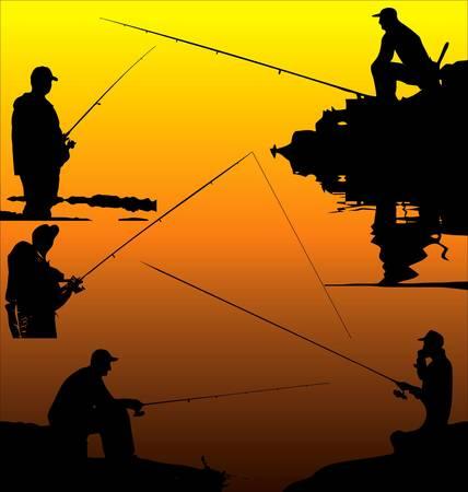 resting rod fishing: Fishermans silhouettes